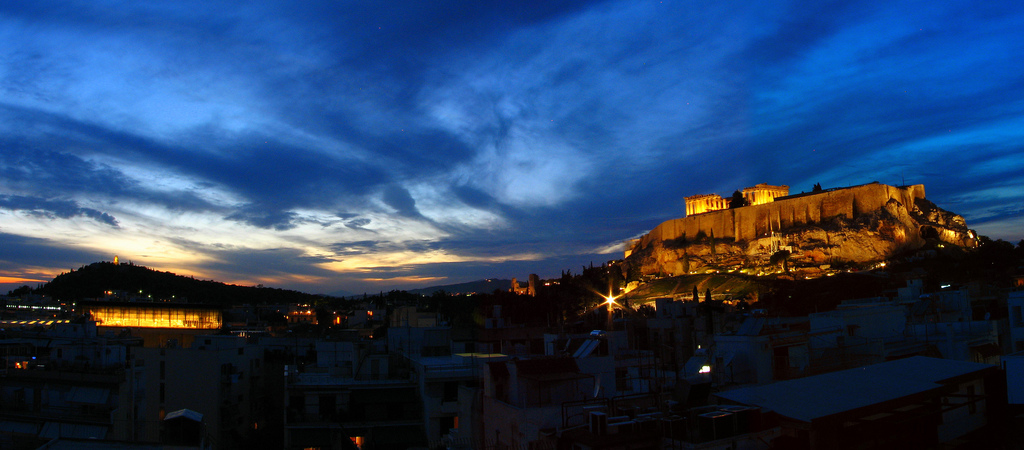 Athens landscape by night
