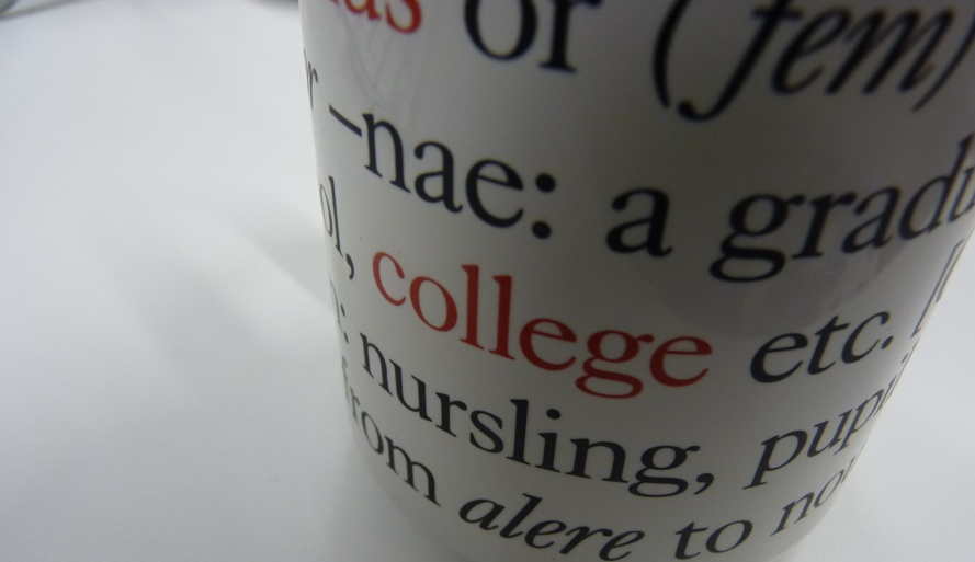 image of a cup covered in word and definitions