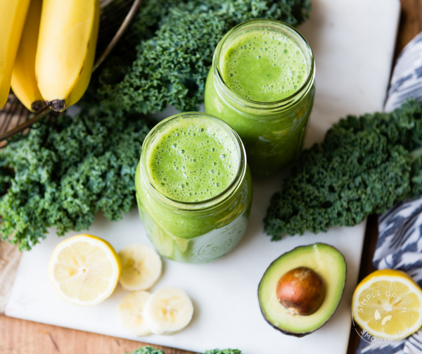 Bananas, kale, spinach and Avocadoes